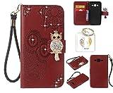 für Samsung Galaxy J3 (2016 Edition) PU Diamant Strass Niedlich Eule Leder Silikon Schutzhülle Handy case Book Style Portemonnaie Design für Samsung Galaxy J3 (2016 Edition) + Schlüsselanhänger ( 0P) (1)