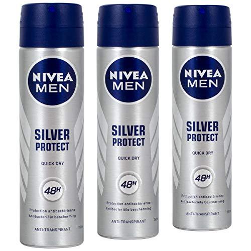 Nivea MEN Silver Protect Anti-Transpirant Antibakterial Deo 150ml - 3 Stück pro Pack