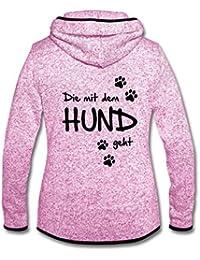Spreadshirt Hund Immer An Meiner Seite Hundepfoten Frauen Kapuzen-Fleecejacke
