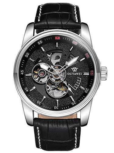 Alienwork Herren mechanische Automatik-Uhr Silber mit Lederarmband schwarz Skelett