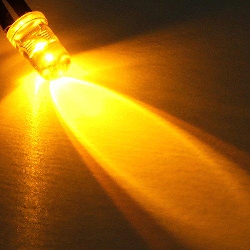 MASUNN 10Pcs LED Lampe Ampoule 20Cm Pre Filaire 5Mm 12V DC Lumière Colorée - Jaune