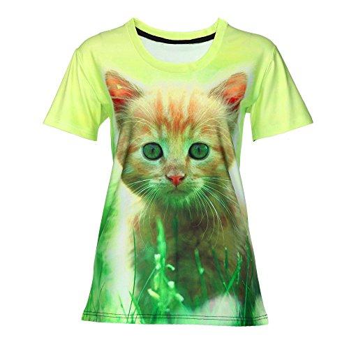Lurcardo Damen Shirts T-Shirt Blusen Sommer Sexy Einfarbig 3D Drucken O-Ausschnitt Tuniken Mode Tops Kurzarm Kurze Ärmel Lässiges Lose Bluse Oberteil Frauen Teenager Mädchen Hemd Pulli Pullover Tee