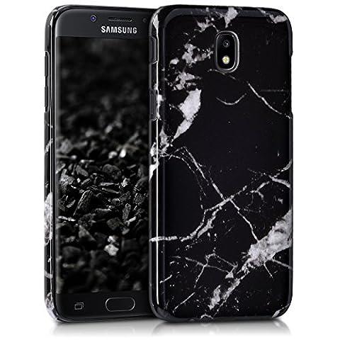 kwmobile Étui rigide Design marbre pour Samsung Galaxy J5 (2017) DUOS en noir blanc