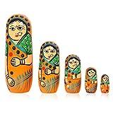 Fine Craft India Set Of 5Pcs Hand Painted Cute Wooden Russian Matryoshka Stacking Nested Wood Dolls Orange