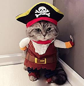 Costume d'animaux, Hillento Funny mignon pour chien ou chat Pirate Vêtements Suite Tenue pour Halloween Vacances de Noël Dress Up Cosplay, fête Apparel Vetements pour chat chien Plus Chapeau