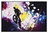 andiamo Teppich Modern Designteppich Tiger Fahrrad Leopard Motiv Fotodruck, Größe:100 x 150 cm, Farbe:Parcour
