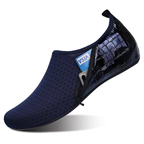 JIASUQI Frauen Sportlich Barfuß Wasser Haut Aqua Schuhe Für Surf Pool Strand Schwimmen Übung Tasche Dunkel Blau, 42/43 EU