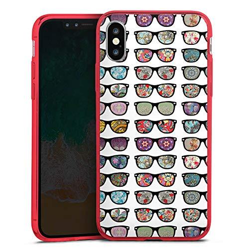 DeinDesign Apple iPhone XS Slim Case transparent rot Silikon Hülle Schutzhülle Brille Glasses Hipster