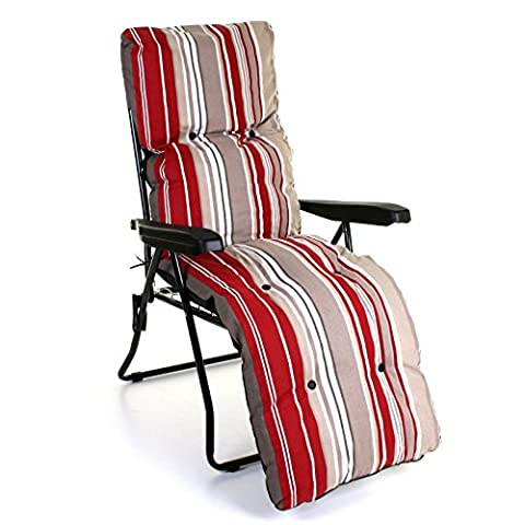 Sun Lounger Reclining Recliner Chairs Outdoor Garden Patio Relaxer with Cushion (Lounger & Cushion Set, Red Stripes)