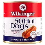 Wikinger 50 Hot Dogs Beechwood Smoked Bockwurst Stil in Salzlake 3000g (Abtropfgewicht 50 x 1900g)