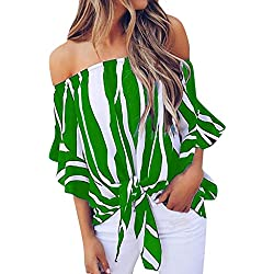 TUDUZ Blusas Mujer Manga Corta Verano Camisas Rayas Fuera del Hombro Camisetas Moda 2019 (Verde, XXXXL)