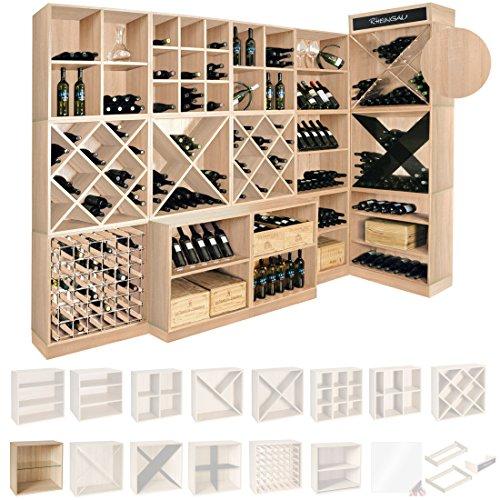 Weinregal / Flaschenregal System CAVEPRO, Regalmodul mit Glasplatte, Holz Melamin beschichtet, Eiche hell -