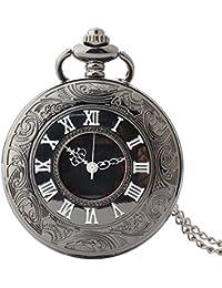 Maybesky Reloj de Bolsillo Creativo del Cuarzo del Vintage de los números Romanos con la Cadena Caja de Regalo para cumpleaños Aniversario día Nav