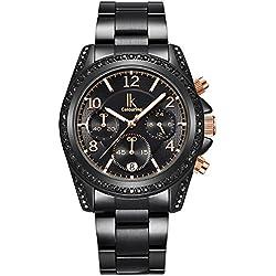 Alienwork Quarz Armbanduhr Multi-funktion Quarzuhr Uhr modisch Strass schwarz Metall K001GA-04