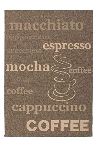 Lalee Moderner Flachwebteppich im Kaffeeton, 80 x 150 cm -