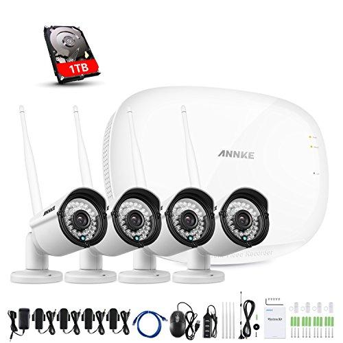 ANNKE 4CH HD 960P Funk Überwachungskamera System mit 1TB Festplatte Wireless HDMI NVR mit 4 Außen 960P WLAN Kamera Video Überwachungsset Indoor/Outdoor,IR Nachtsicht, Schnellzugriff,Bewegungserkennung