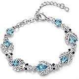 FLORAY Femme Bleu Luciole Bracelet, Beau cristals, Zircon mousseux, Plaqué or blanc. Coffret à bijoux bleu gratuit.