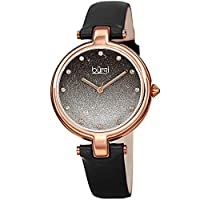 Burgi Womens Quartz Watch, Analog Display and Leather Strap BUR225BK