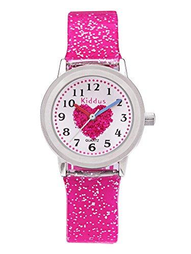 Reloj niña chica infantil analógico de cuarzo en caja de regalo, Sumergible en agua, Mecanismo Seiko, Bateria Sony, Rosa, Kiddus FAB2