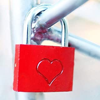Red lock with a heart of love - Small Padlock - Valentine's day gift