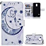 ZCXG Compatible with Samsung Galaxy S5 Case Marble Moon Blue Leather Flip Wallet Clear View Back Cover Shockproof AntiScratch Soft Phone Protective Card Slot Case for Samsung S5
