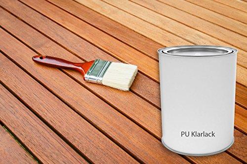 PU Klarlack glänzend Holzschutzmittel Innen und Aussen | BEKATEQ PU Lack Holzlack Holzversiegelung | Kratzfest, Stoß- und Schlagfest, Strapazierfähig, Wetterbeständig, Schnelltrocknend, Abriebbeständig | Kunstharzlack Parkett- und Treppenlack | Yachtlack Bootslack (2,5L)