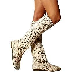 Mujer Verano Botas Plano Zapatos Elegante Respirable Gladiador Bordado Slip-On Zapatos Moda Malla Alto Botas Beige 39 Juleya
