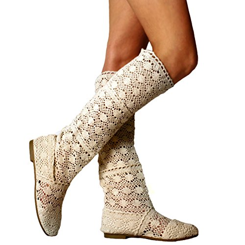 Yying Damen Sommer Stiefel Stiefeletten Flach Stickerei Hohe Stiefel, Sexy Mesh Schlupfstiefel, Slip-on Schuhe Boots Beige 36