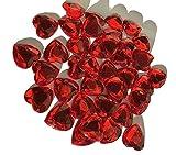 CRYSTAL KING 80 Stück Glitzernde Strasssteine Deko Herzen 20mm rot basteln Gltzersteine Schmucksteine Strass Steine zum Verzieren Dekoration Liebe