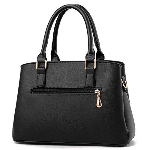 grande da borse seta Pink a e Handle pelle grande sciarpe top con donna Black in Satchel PU misura Standard Borse tracolla spalla Borsa da borse EzwwX