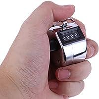 Metall Handzähler Zählwerk Handzählgerät Einhandzähler Counter Einhand für Inventur Handheld Zähler Tally Counter Schrittzähler ohne Batteriebetrieb Metallgehäuse mit Ring für Fingerhalt Ringhalter