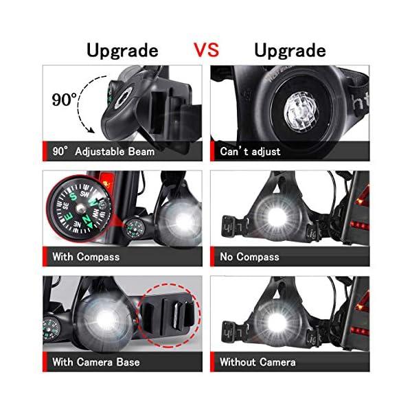 SGODDE Running Light Ricaricabile USB, Luce Corsa 3 Modi 500 LM Impermeabile con Bussola per GoPro, Leggero, Comodo e… 2 spesavip