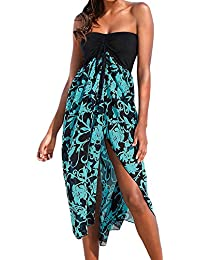 f021892ed68 Uranus Women Summer Baggy Loose Slit Feather Print Slit Strapless Bardot  Maxi Beach Dress Black