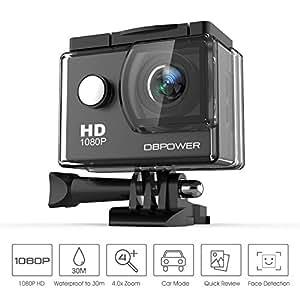 DBPOWER SJ4000 1080P Caméra Action 14MP WiFi Caméra Sports Étanche 140 Degrés Angle Grand Angle, 30m Caméscope DV Sous-Marine avec 14 Accessoires et 2 Batteries