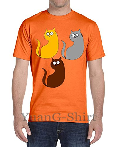 Three Color-Changing Cat Men's Short-Sleeved New Cotton T-Shirt (Classic Alpha Shirt Polo)