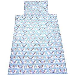 TupTam Kinder Bettwäsche Set 100x135 Baumwolle Gemustert, Farbe: Einhorn Blau, Größe: 135x100 cm