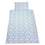 TupTam Kinder Bettwäsche 100x135 2-tlg. Babybettwäsche Set Baumwolle Bettgarnitur Bunte Eulen Elefant Sterne Feuerwehr, Farbe: Einhorn Blau, Größe: 135x100 cm
