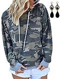 BUOYDM Donna Camicia Mimetica Stampa Tasca Felpa con Cappuccio Felpa Pullover Tops Camicetta Grigio XL