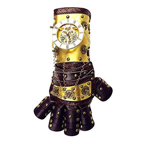 JAY-LONG Vintage Gothic Steampunk Leder Arm Handschuhe Band Manschette Metall Bedeckt, Waffen & Rüstungen, Retro Kostüm Zubehör Für Cosplay Halloween Maskerade