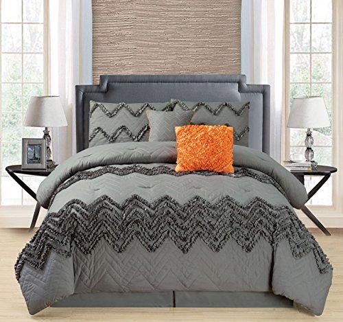 10Stück chilco weiß Bett in einer Tasche w/500TC Baumwolle-Bettlaken-Set, Polyester, grau, King Size (Bett In Einem Beutel-ensembles)