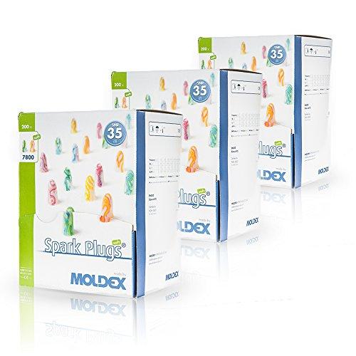 200 Paar Ohrstöpsel / Gehörschutzstöpsel - Spark Plugs Soft (7800) von Moldex - Gehörschutz mit SNR 35dB - Paarweise hygienisch und praktisch verpackt