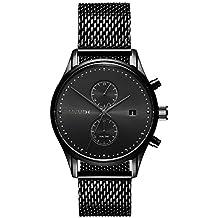 MVMT Herren Watch Uhr Voyager Slate Black/Black schwarz Mesh Armband MV01-BL