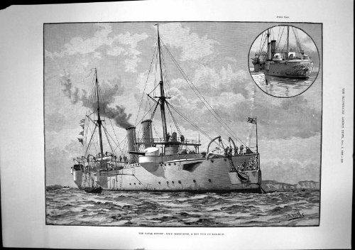 Marinedes Zusammenfassungs-Neuen Typs Strenge Ansicht 1889 des Kriegs-Schiffs-HMS Magicienne
