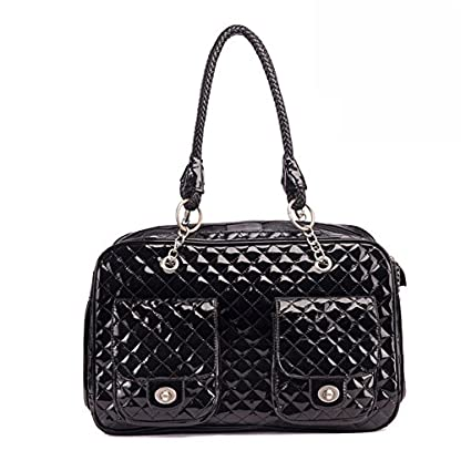 """B-JOY High Quality Pet Carrier Dog Tote Bag Soft PU Leather Quilted Carrier Puppy Handbag Travel Purse - 17"""" by 8.5"""" by 10.5 (Black) 1"""