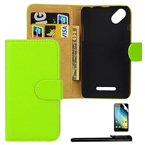 4in1 PREMIUM Wallet Hülle in Grün für - Wiko Sunny / Sunset 2 - Schutzhülle Flip Case im Bookstyle / aufklappbare Tasche mit Kartenfach & Standfunktion + Touchpen, Schutzfolie & Tuch