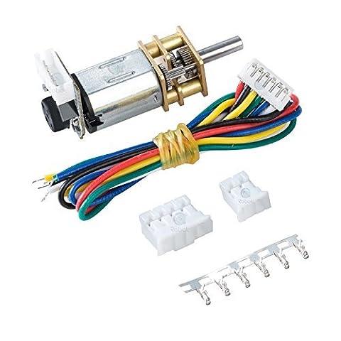 6V DC Geared Motor w/Encoder - 155RPM+0.7kg.cm, Gear Ratio is 100:1.