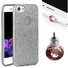 Ego® Cover Glitter Custodia Per iPhone, Huawei Back Case Bumper TPU trasparente lucido bling Custodia/Borsa Cover glamour argento argento für iPhone 7 Plus