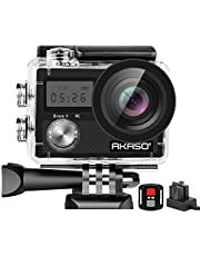 AKASO Brave4 4K WiFi Action Camera 20MP Ultra HD with EIS 30m Waterproof Underwater Camera Remote Control 5X Zoom Sports Camera with 2 Batteries and Helmet Accessories Kit