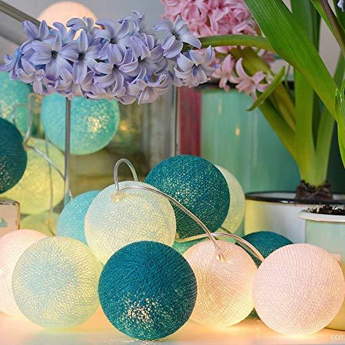 JUZEN 20LED Baumwollball-Lampe, Candy Macaron Farbe LED Lampe Lampe Schlafzimmer-Dekorationslampe, Kleiner frischer Stil, Urlaub, Hochzeits-Kaffee Fenster-Lampe, 5 Stücke,Blue -