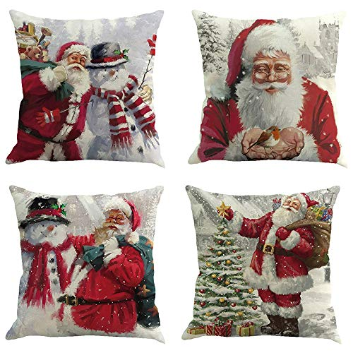 Yvelands 4 STÜCK Weihnachten Baumwolle Leinen Sofa Auto Taille Kissenbezug Dekokissen Fall zierkissen Kissen
